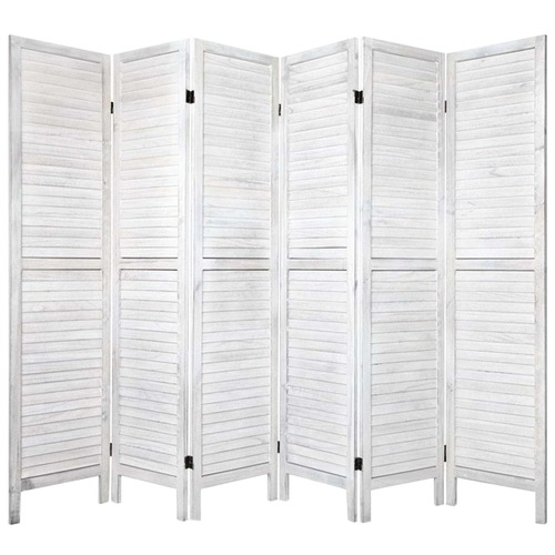 Dwell Home White Rustic 6 Panel Room Divider