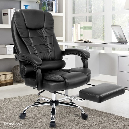 Dwell Home Faux Leather Reclining Office Chair with Footrest