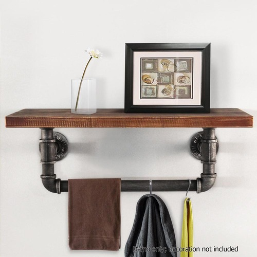 Dwell Home Industrial Floating Pipe Shelf with Rail