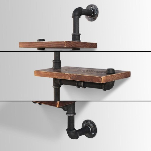 Dwell Home Industrial 3 Tier Floating Pipe Shelf