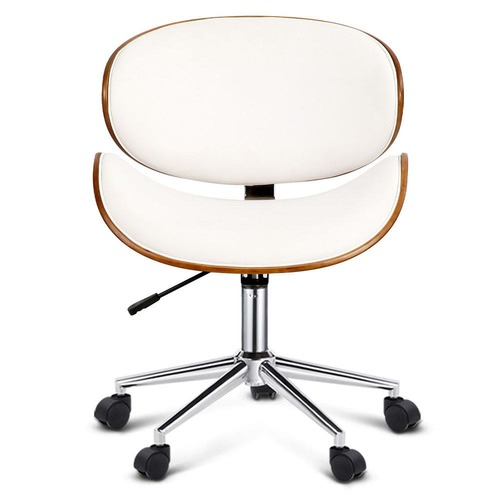 Dwell Home White Bentwood Wings Faux Leather Office Chair