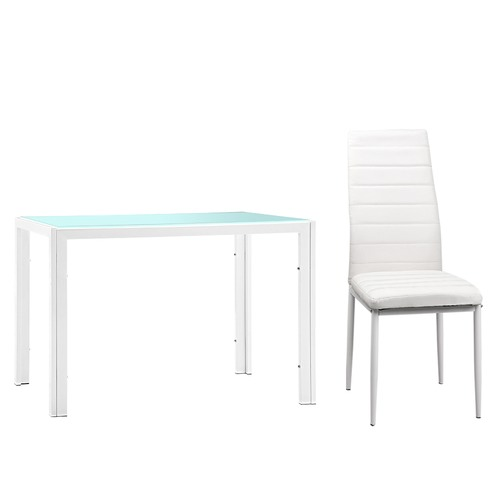 Dwell Home 4 Seater White Arie Glass Dining Set