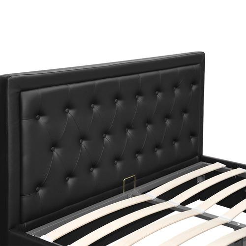 Dwell Home Black Tiyo Gas Lift Faux Leather Bed Frame