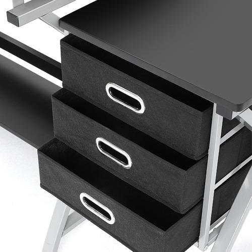 Dwell Home Black 3 Drawer Drafting Table & Stool Set