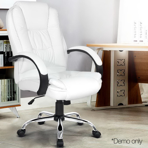 Dwell Home White Joseph Faux Leather Padded Office Chair