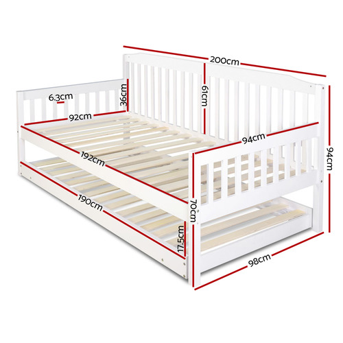 Dwell Home White Fisher Single Pine Wood Trundle Bed