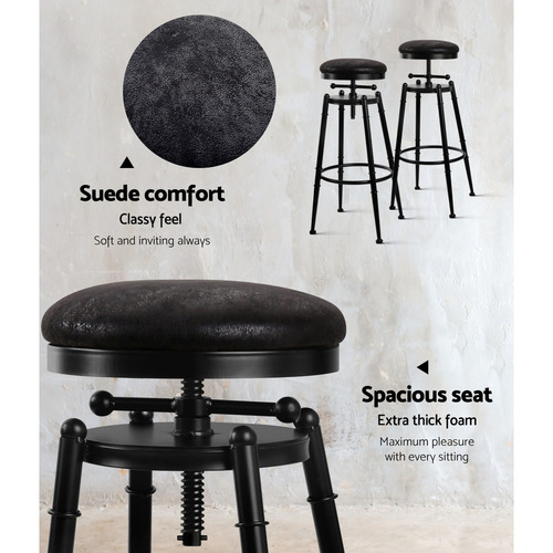 Dwell Home Kieren Faux Suede Adjustable Barstool
