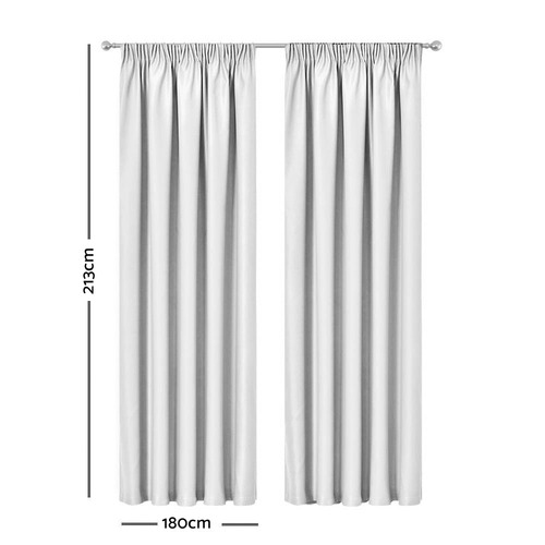 Dwell Home White Art Queen Pinch Pleat Blockout Curtains