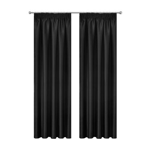 Dwell Home Black Art Queen Pencil Pleat Blockout Curtains