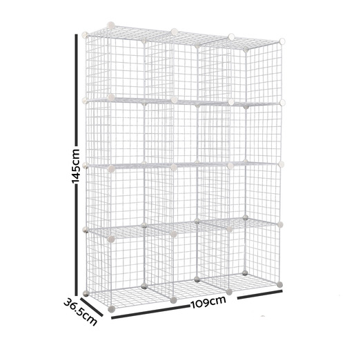Dwell Home White 12 Cube Metal Wire Storage Cabinet