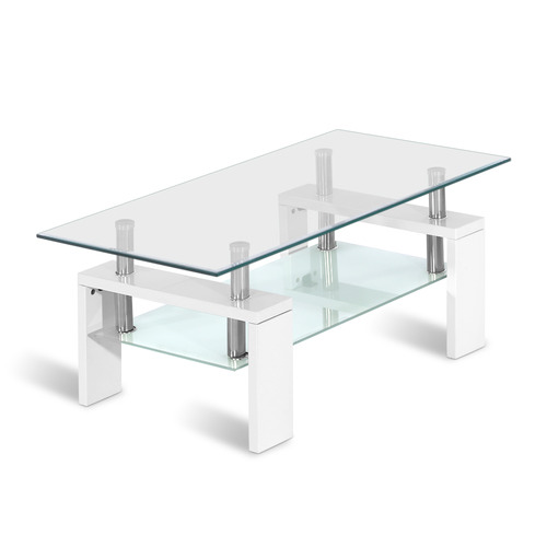 Dwell Coffee Table.White Padamo 2 Tier Coffee Table