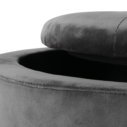Dwell Home Dark Grey Gailo Velvet Storage Ottoman