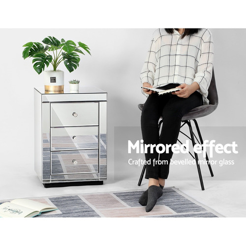 Dwell Home Persia Mirrored Bedside Table