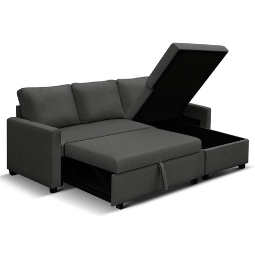 Dwell Home Charcoal Wandellon 3 Seater Storage Sofa Bed