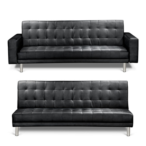 Dwell Home Black Cooper 4 Seater Faux Leather Sofa Bed