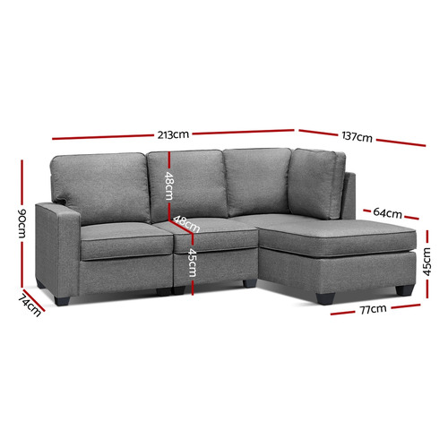 Dwell Home Grey Jacque 5 Seater Sofa Chair with Chaise