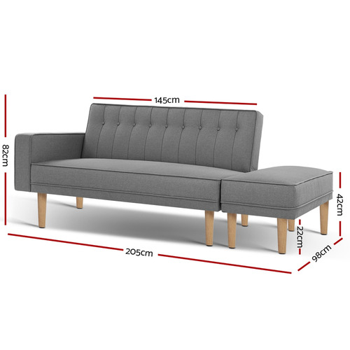 Dwell Home Grey 3 Lester Seater Sofa Bed with Ottoman