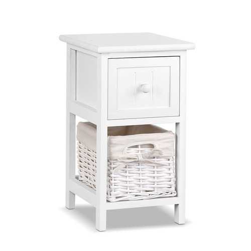 Dwell Home White Esther Wooden Bedside Tables with Storage Baskets