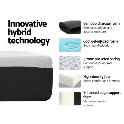 Dwell Home Medium Firm Geisler Hybrid Memory Foam Bed Mattress