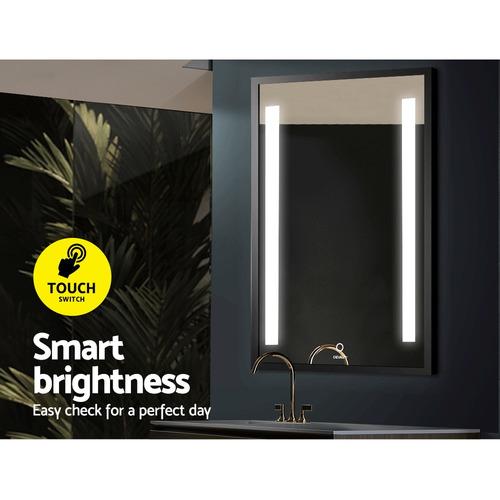 Dwell Home 50cm Black Devanti LED Bathroom Wall Mirror