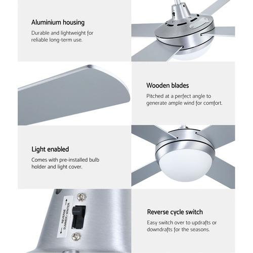 Dwell Home 132cm Silver Devanti Ceiling Fan