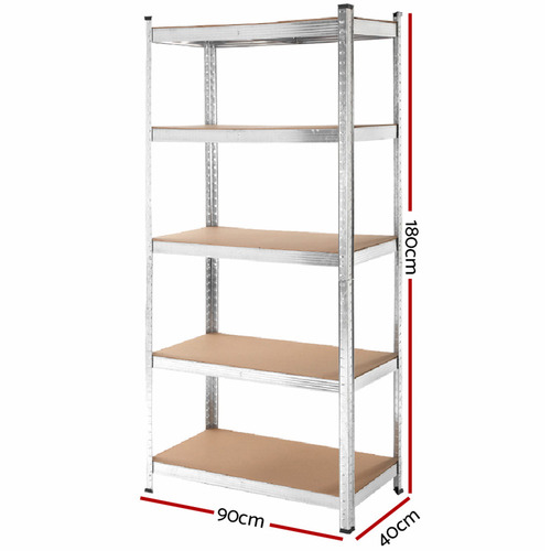 Dwell Home Silver 5 Tier Gendry Steel Shelving Unit