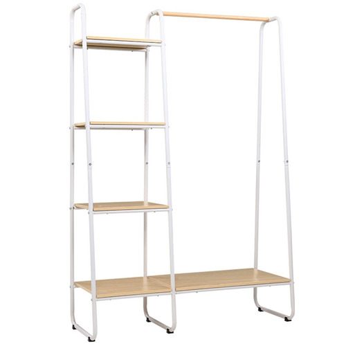Dwell Home Natural & White Alaric Clothes Rack with Side Shelves