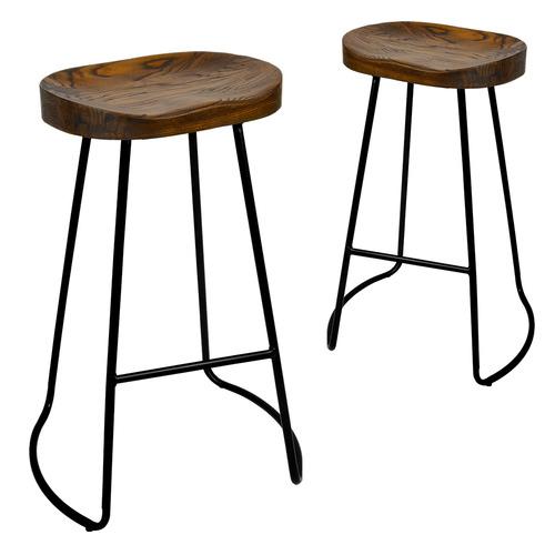 Tremendous 75Cm Industrial Moulded Backless Barstools Set Of 2 Customarchery Wood Chair Design Ideas Customarcherynet