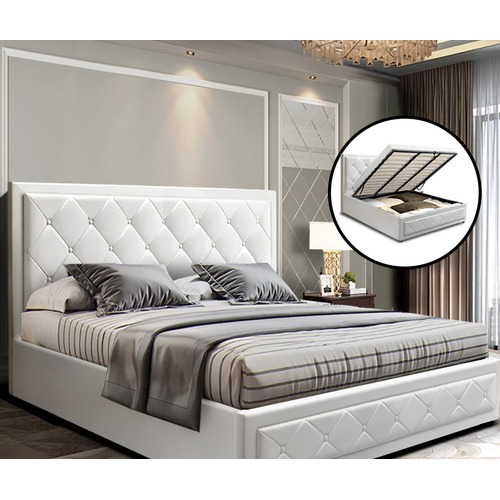 Dwell Home White Octavia Faux Leather Gas Lift Bed Frame