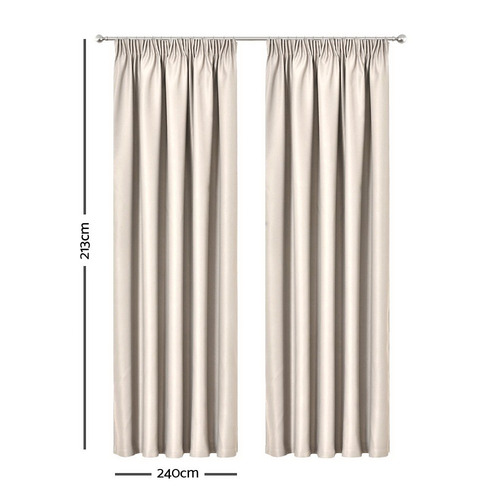 Dwell Home Sand Art Queen Pencil Pleat Blockout Curtains