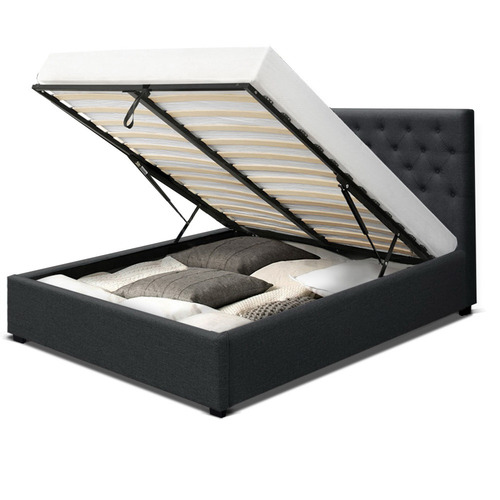 Dwell Home Black Roman Queen Gas Lift Storage Queen Bed