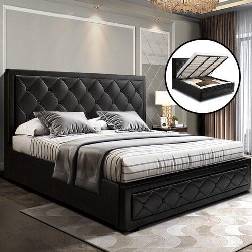 Dwell Home Black Venus Faux Leather Gas Lift Storage King Bed
