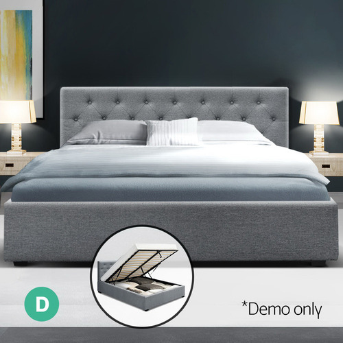 Dwell Home Grey Ansel Gas Lift Storage Bed with Headboard