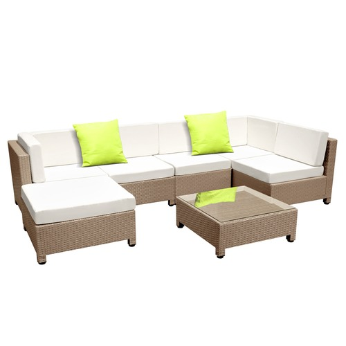Dwell Outdoor Hawaii 6 Seater PE Rattan Outdoor Lounge Set