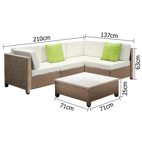 Dwell Outdoor 5 Piece Barcelona PE Rattan Modular Outdoor Lounge Set
