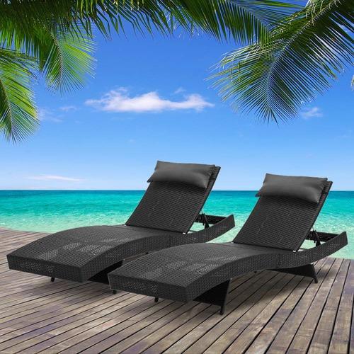 Dwell Outdoor Barcelona PE Wicker Outdoor Sun Lounges