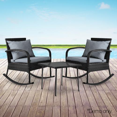 Dwell Outdoor 2 Seater Black Harrien Outdoor Rocking Lounge Set