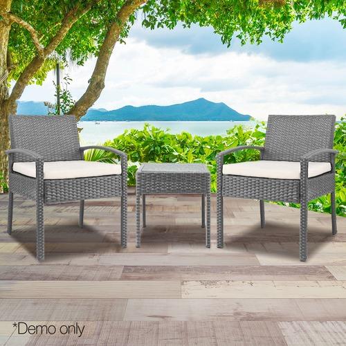 Dwell Outdoor 2 Seater Black Horden Outdoor Rattan Lounge Set
