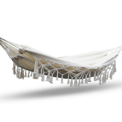 Dwell Outdoor Cream Gideon Hammock Tassel Swing Chair