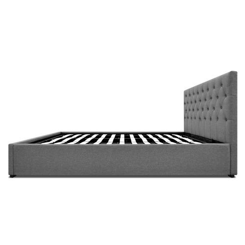 Dwell Outdoor Grey Gabriel Linen Gas Lift Bed Frame & Headboard