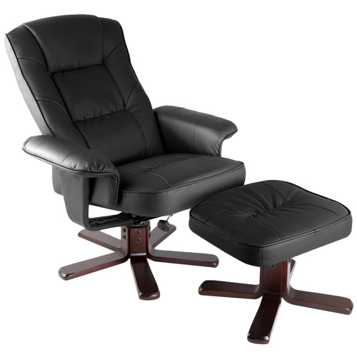 Dwell Outdoor Norman Faux Leather & Wood Recliner Armchair
