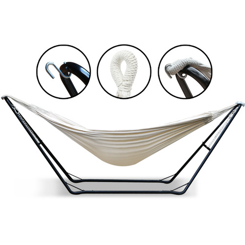 Dwell Outdoor Cream Jaxton Cotton Hammock Bed with Stand