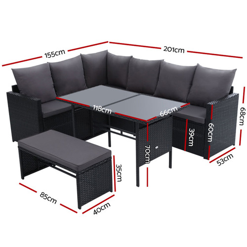 Dwell Outdoor 7 Seater Reva Outdoor Dining Set