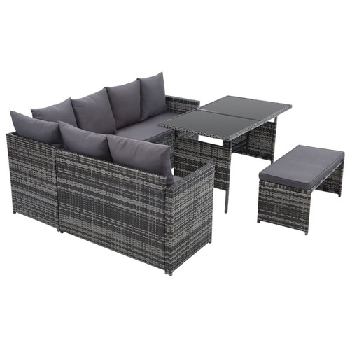 Dwell Outdoor 7 Seater Reva Outdoor Dining Set with Storage Cover