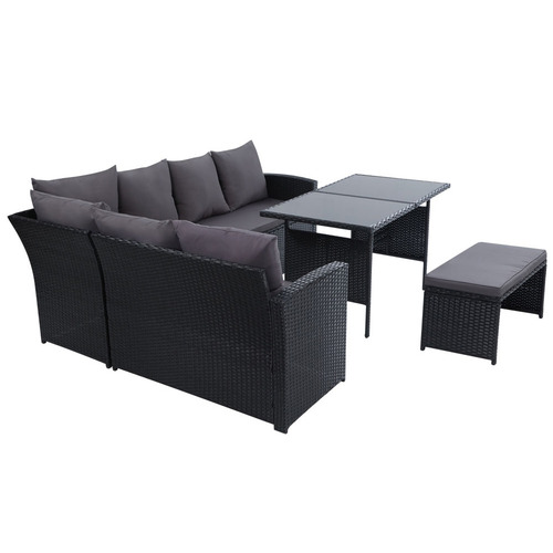 Dwell Outdoor 7 Seater Hansley Outdoor Dining Set with Storage Cover