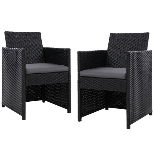 Dwell Outdoor Black Roshan PE Wicker Outdoor Dining Chairs
