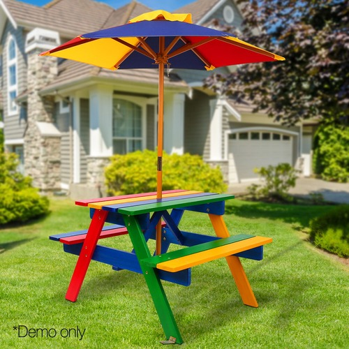 Dwell Lifestyle Rainbow Kids' Wooden Picnic Table Set with Umbrella