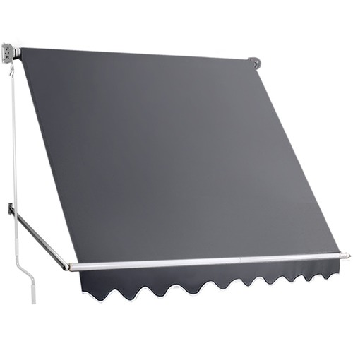 Grey Retractable Straight Drop Roll Down Awning Temple Webster