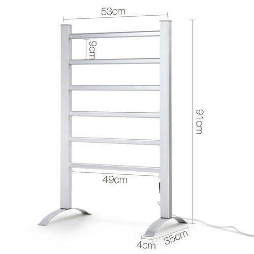 Dwell Lifestyle 6 Rung Free-Standing Electric Heated Towel Rail