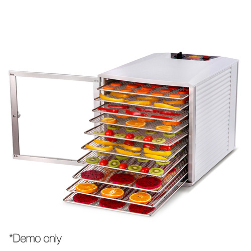 Dwell Lifestyle Devanti Commercial Stainless Steel Food Dehydrator with 10 Trays